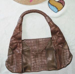 BCBG Max Azria Brown Leather Multi Texture Purse